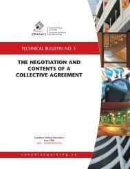 the negotiation and contents of a collective agreement - Canadian ...
