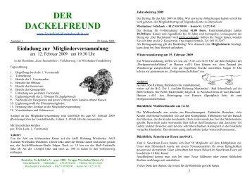 Der Dackelfreund - Nr. 1/2009 - Teckelklub Wiesbaden/ Mainz