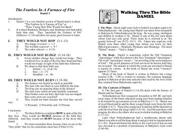 The Fearless In A Furnace of Fire Walking Thru The Bible DANIEL