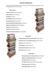 Summer Reading List - Oswestry School