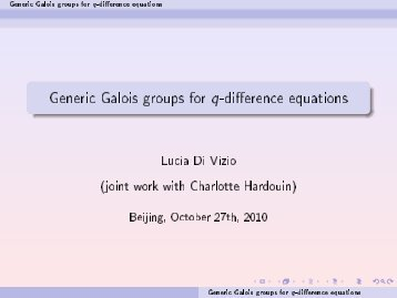 Generic Galois groups for q-difference equations