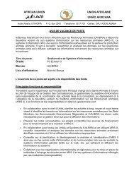 Grade: Bureau: UA-BIRA Lieu d'affectation: Nairobi ... - African Union
