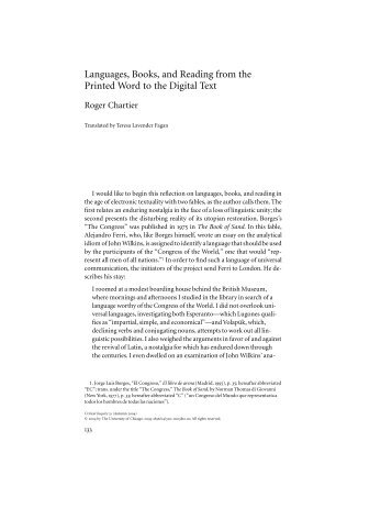 Languages, books, and reading from the printed word to the digital text