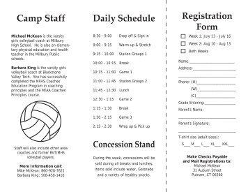 Volleyball camp 2009.indd - Millbury Public Schools Community Portal