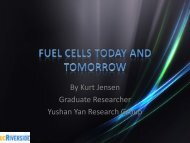 By Kurt Jensen Graduate Researcher Yushan Yan Research Group