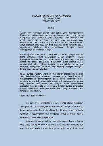 BELAJAR TUNTAS (MASTERY LEARNING)oleh ... - Kemenag Sumsel