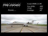 Learjet 60XR s/n 386 Year (EIS): 2010 TTAF: 1135 ... - Bombardier