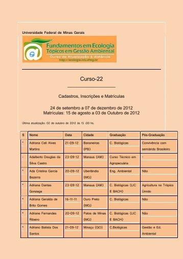 Universidade Federal de Minas Gerais - Ecologia e Gestão ...