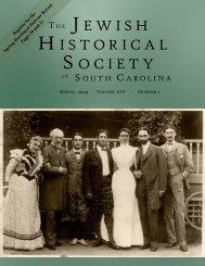 2009 Spring - Jewish Historical Society of South Carolina