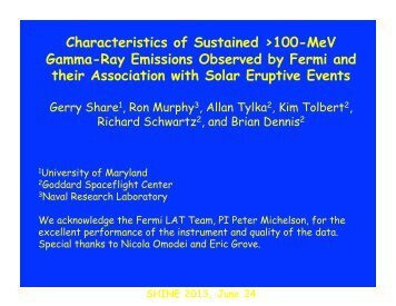 Characteristics of Sustained >100-MeV Gamma-Ray ... - shine