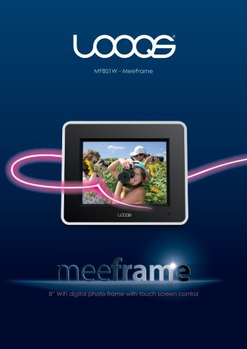 """8"""" WiFi digital photo frame with touch screen control ... - Looqs.com"""