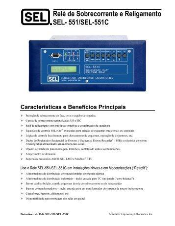 Relé de Sobrecorrente e Religamento SEL- 551/SEL-551C