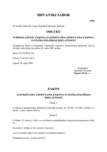 Zakon o stomatološkoj djelatnosti - Hrvatski zavod za zdravstveno ...