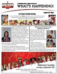 What's Happening August 12, 2012 - St. Paul's Bloor Street