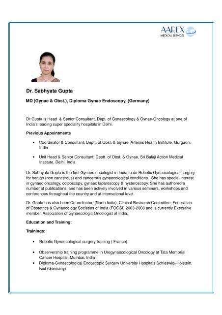 Dr Sabhayata Gupta - Surgery in India