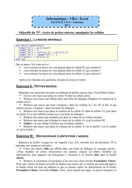 Informatique : VBA / Excel - GRAppA