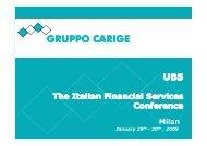 Milan, 29th-30th January 2009 - Gruppo Banca Carige