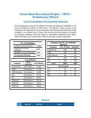 Canara Bank Recruitment Project - 1/2012 – Probationary Officers