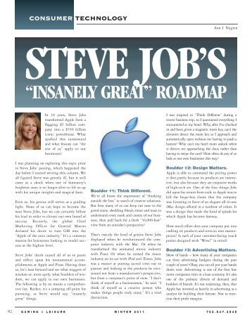 "Steve Job's ""Insanely Great"" Roadmap - Gaming & Leisure Magazine"