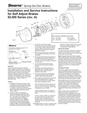 P/N 8-078-922-10 - Stearns - Rexnord