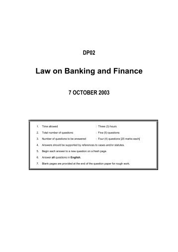 BANKING & FINANCE LAW - Institute of Bankers Malaysia
