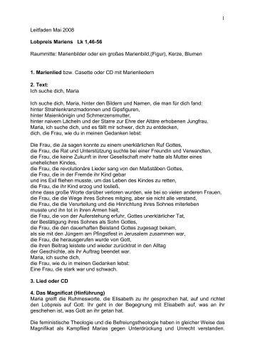 1 Leitfaden Mai 2008 Lobpreis Mariens Lk 1,46-56 Raummitte ...