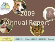 2009 Annual Report - Humane Society of South Mississippi