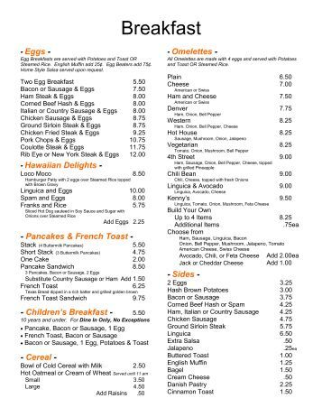 Cafe Bambini Fairfield Menu