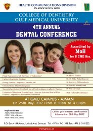 DENTAL CONFERENCE - Gulf Medical University