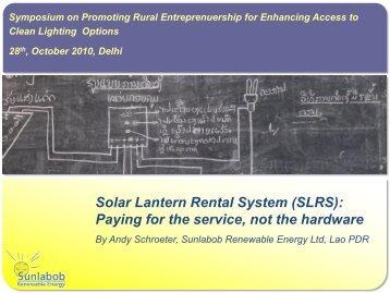 Solar Lantern Rental System (SLRS) - Delhi International ...