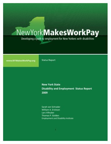 New York State Disability and Employment Status Report, 2009.