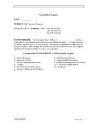 Fall Protection Program REGULATORY STANDARD