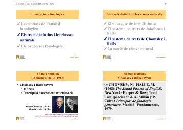 El sistema de trets distintius de Chomsky i Halle