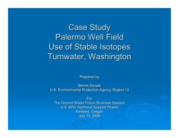 Case Study Palermo Well Field Use of Stable Isotopes Tumwater ...