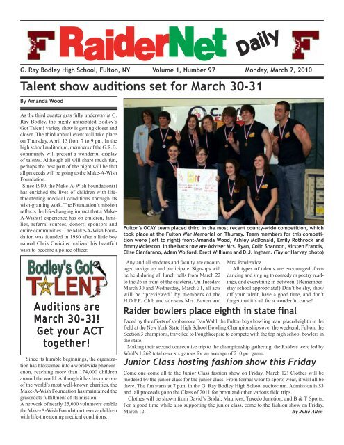 to read RaiderNet Daily for March 7 as a pdf  - Oswego
