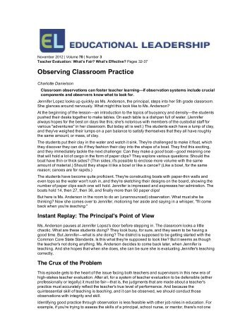 Observing Classroom Practice - Educational Leadership article by Charlotte Danielson