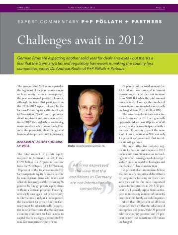 Challenges await in 2012 - P+P Pöllath + Partners