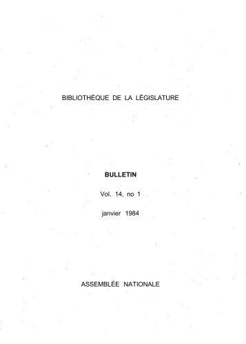 Vol. 14, no 1 janvier - Bibliothèque - Assemblée nationale du Québec