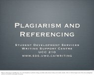 Plagiarism and Referencing - Student Development Services