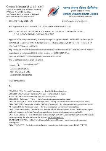 ISD LL tariff applicable to Mobile services - TNC 18-10-12 - snea