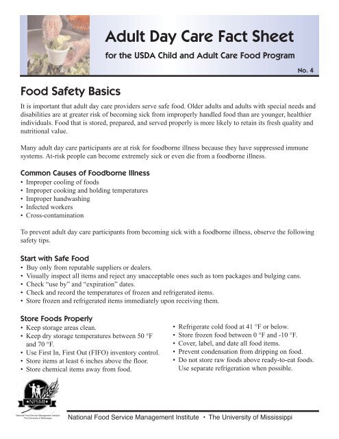 Adult Day Care Fact Sheet - National Food Service Management