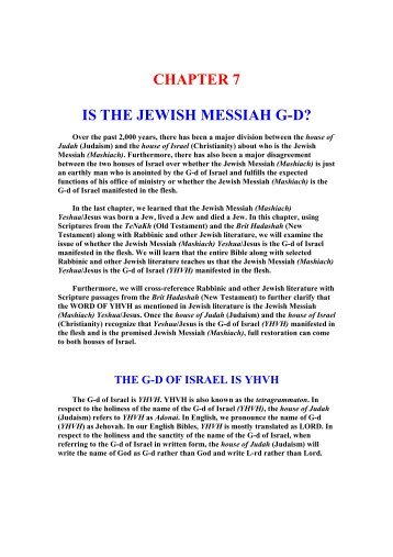 Is The Jewish Messiah G-D? - Unleavened Bread