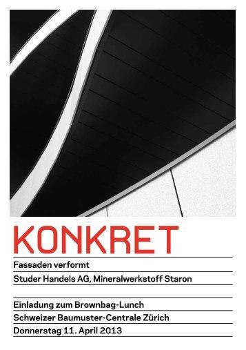 KONKRET Studer Flyer - Schweizer Baumuster-Centrale