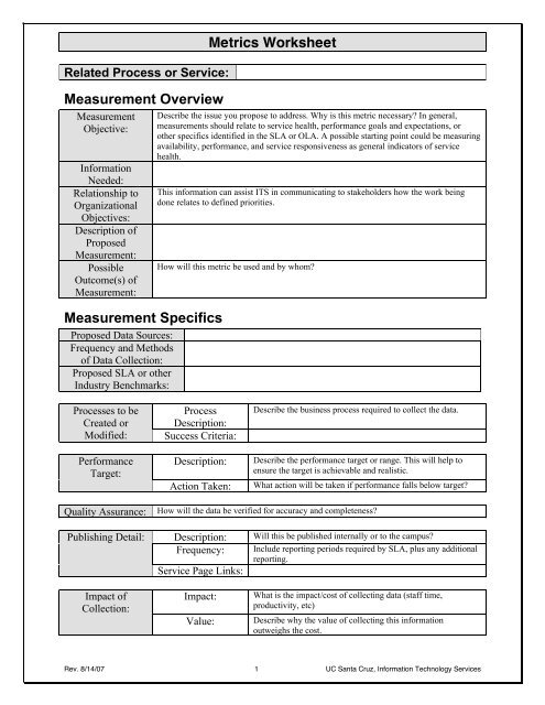 Metrics Worksheet - Information Technology Services