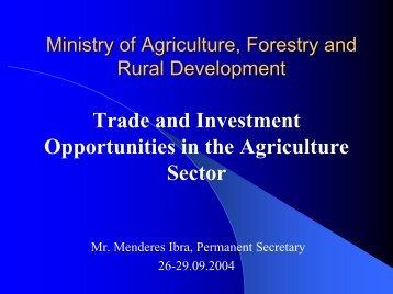 Mundësit për tregti dhe investime në Sektorin e Bujqësisë