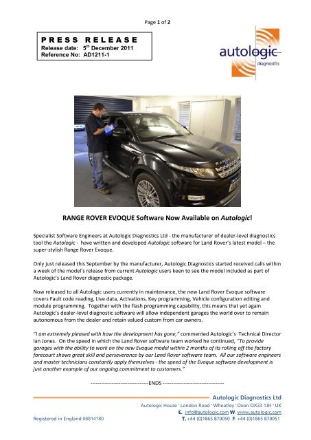 Range Rover Evoque Software Available On - Autologic-Diagnostics