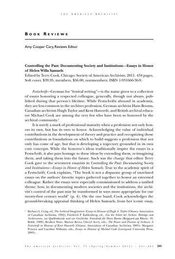 Vol. 75, No. 1 (Spring/Summer 2012) - Society of American Archivists