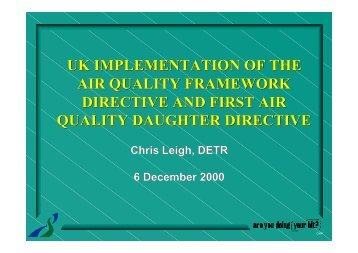 uk implementation of the air quality framework directive and ... - IAPSC