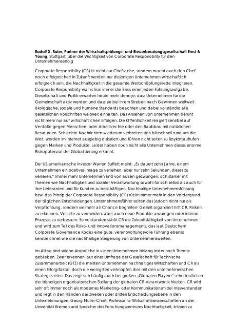 Corporate Responsibility und Unternehmenserfolg - Rudolf X. Ruter