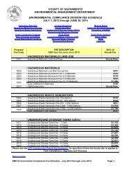 Environmental Compliance 2013-2014 Annual Fee Table